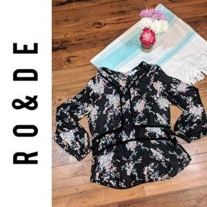 Ro & De Sheer Black Floral Blouse